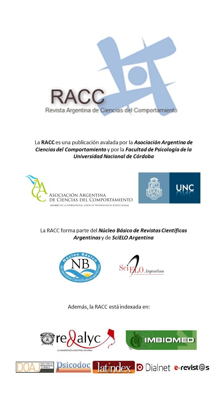 La RACC integra el Núcleo Básico de Revistas Científicas Argentinas y está anexada en SciElo-Argentina, REDALYC, PSICODOC, LATINDEX y DIALNET, entre otras.