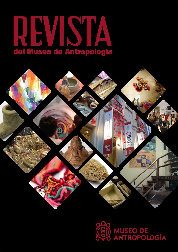 Portada del Volumen 12, Número 1, correspondiente al año 2019 de la Revista del Museo de Antropología. Contiene imágenes de espacios y recursos del Museo de Antropología. Por ejemplo salas de exhibición vacías y con visitantes, vasijas cerámicas y textiles