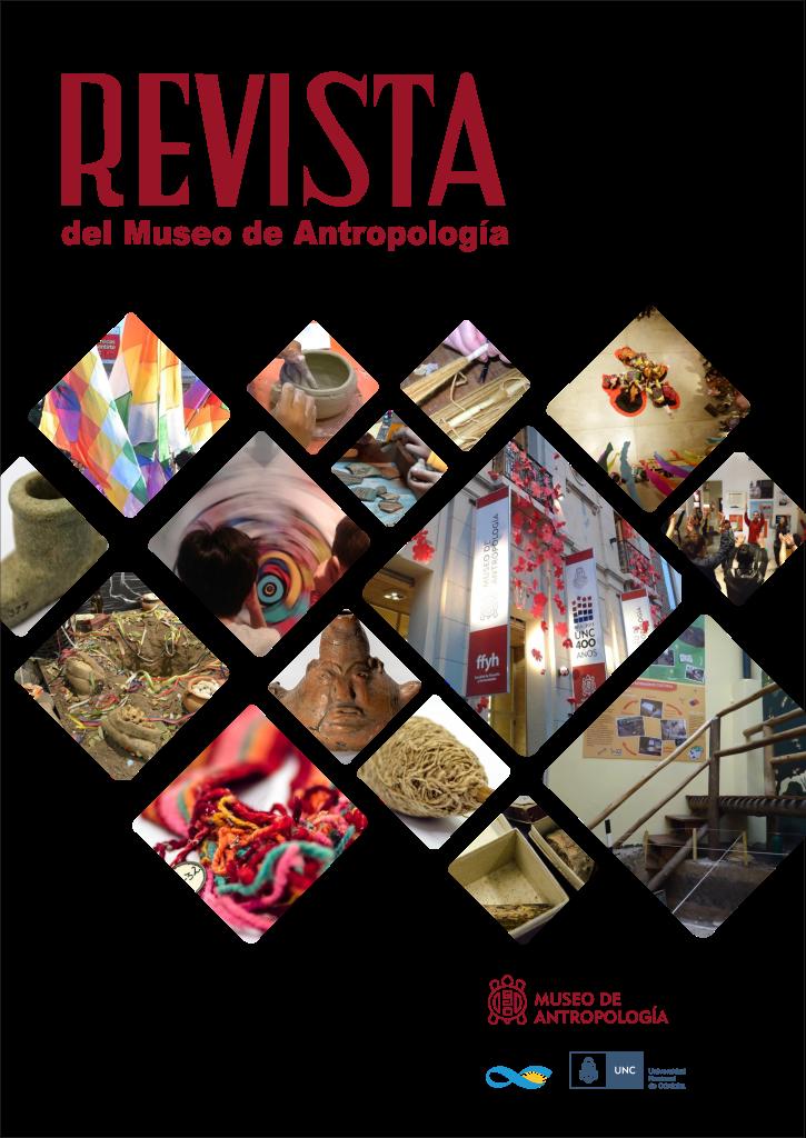 Portada del Volumen 13, Número 1, correspondiente al año 2020 de la Revista del Museo de Antropología. Contiene imágenes de espacios y recursos del Museo de Antropología. Por ejemplo salas de exhibición vacías y con visitantes, vasijas cerámicas y textiles