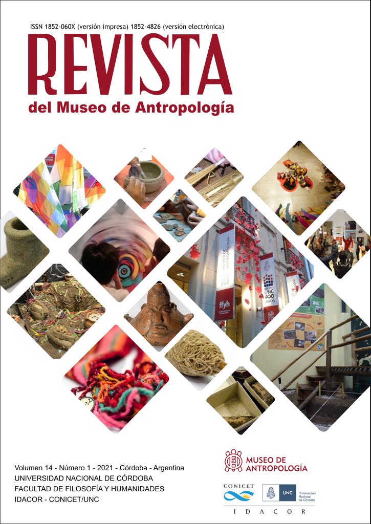 Portada del Volumen 14, Número 1, correspondiente al año 2021 de la Revista del Museo de Antropología. Contiene imágenes de espacios y recursos del Museo de Antropología. Por ejemplo salas de exhibición vacías y con visitantes, vasijas cerámicas y textiles