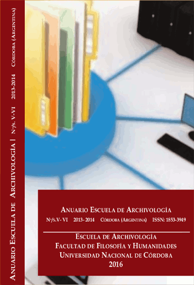 Ver Núm. 5-6 (2014): Anuario Escuela de Archivología