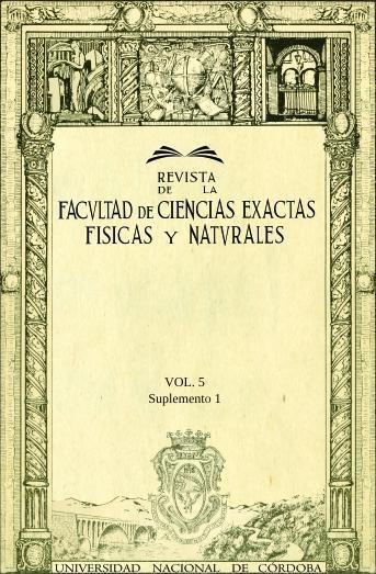 Revista de la Facultad de Ciencias Exactas, Físicas y Naturales - Vol. 5 - Suplemento 1