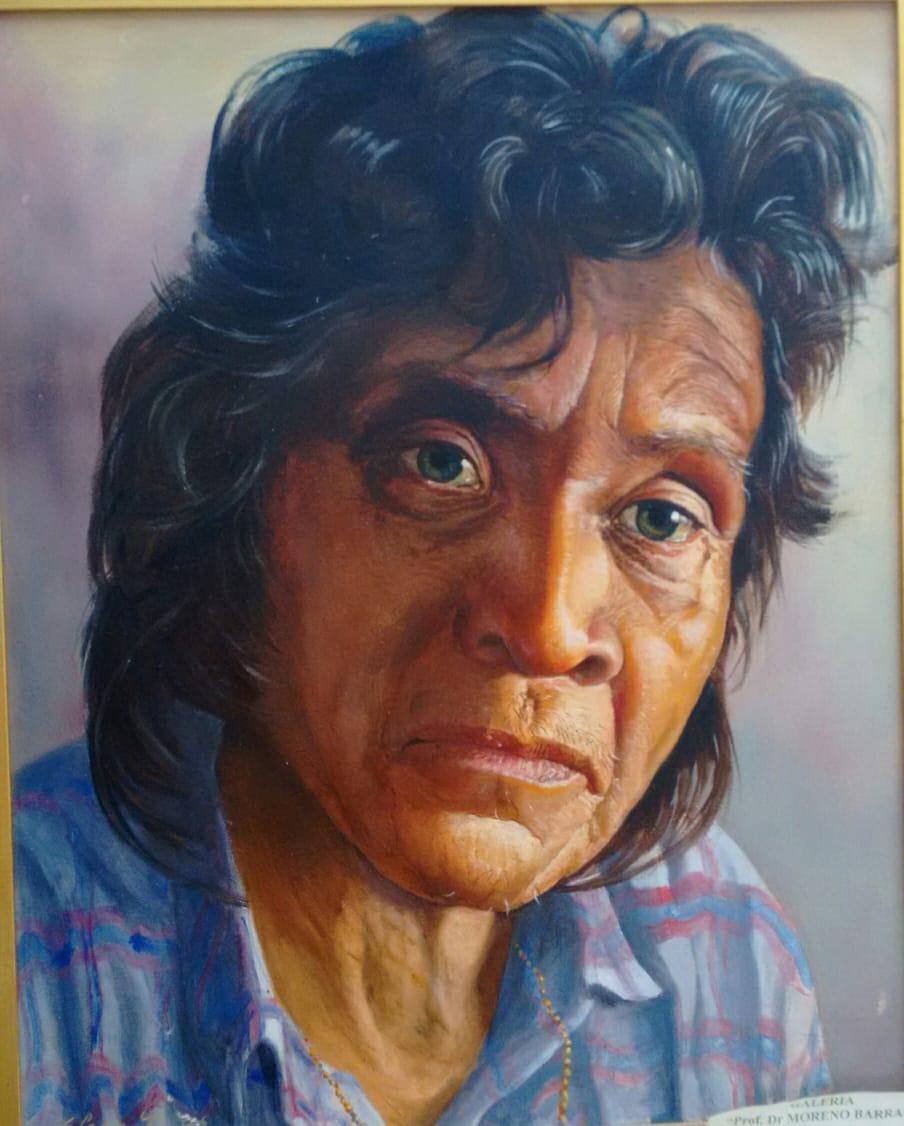 Retrato de integrante del pueblo originario Mbya Guaraní de Argentina. Autora de la pintura: Dra. Elena Pica