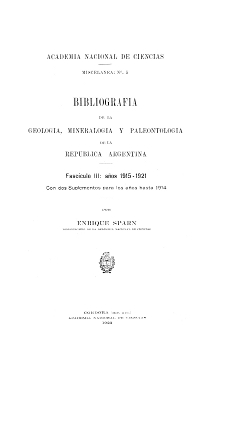 Bibliografía de la Geología, Mineralogía y Paleontología de la República Argentina. Años 1915 a 1921.