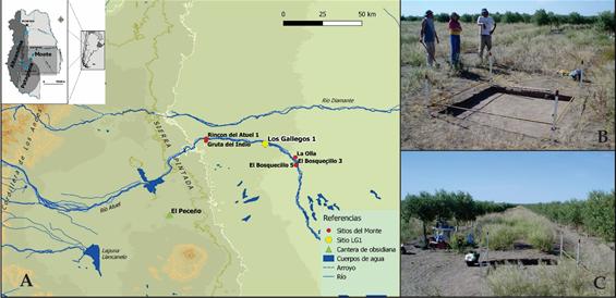 Mapa de localización y trabajos en el campo.