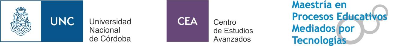 Imagen logo UNC, CEA y Maestria en procesos educativos mediados por tecnologia